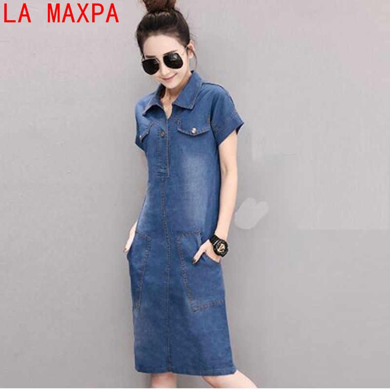 c44c053d440 ... 2019 новое летнее джинсовое платье женское винтажное Turn-Down воротник короткий  рукав карманы джинсы платья ...