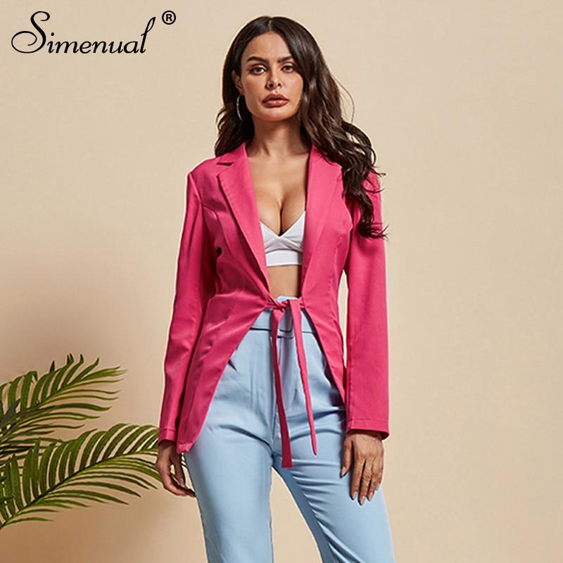 Simenual Fashion Women Pink Blazer Long Sleeve Office Lady Jacket Bandage Slim Solid Casual 2019 Autumn Blazers Deep V Neck New