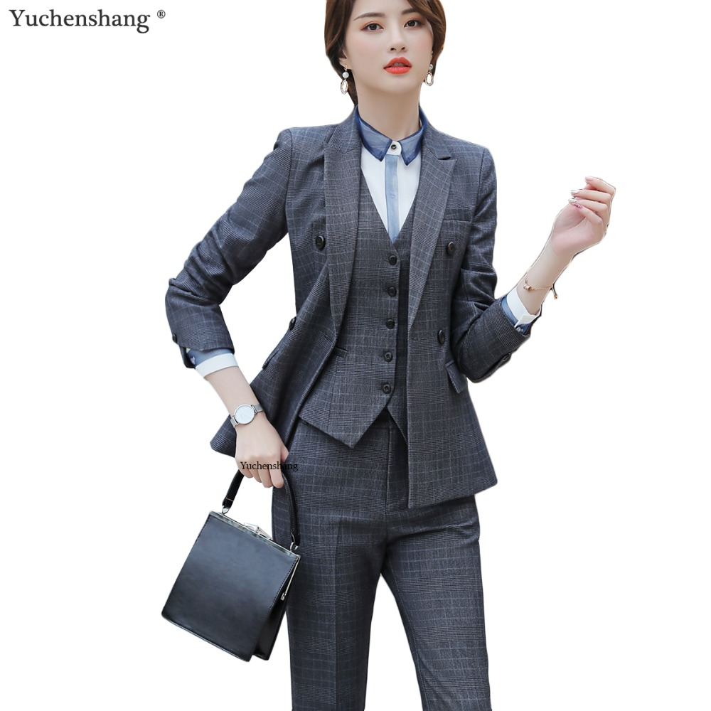 Women High Quality Striped Suits Work Pant Suits Office Lady Formal Business Wear Vest Blazer and