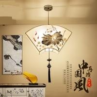 Iluminação da casa do estilo chinês mão pintado arte pano restaurante folha de lótus lâmpada ferro luz estudo sala de estar clássica ZA8219 iron light lights style pendant lamp -