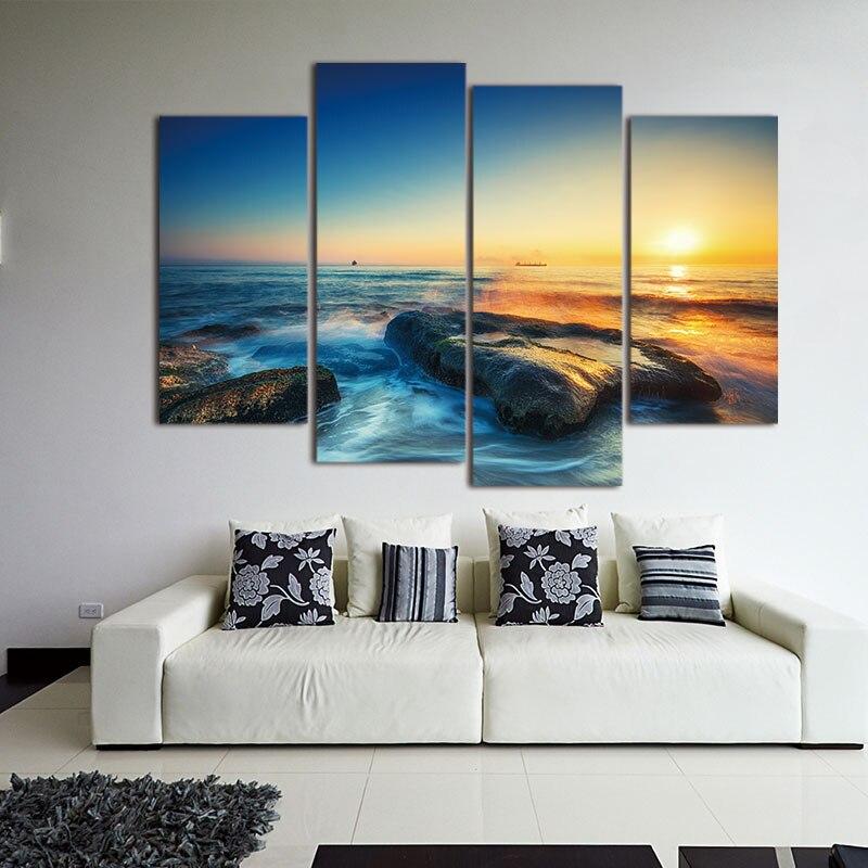 Nástěnný obrázek 4 ks Moderní přímořská malba Plátno Umělecká mořská vlna Krajina Nástěnná malba Pro dekorace Modulární obrázky bez rámečku
