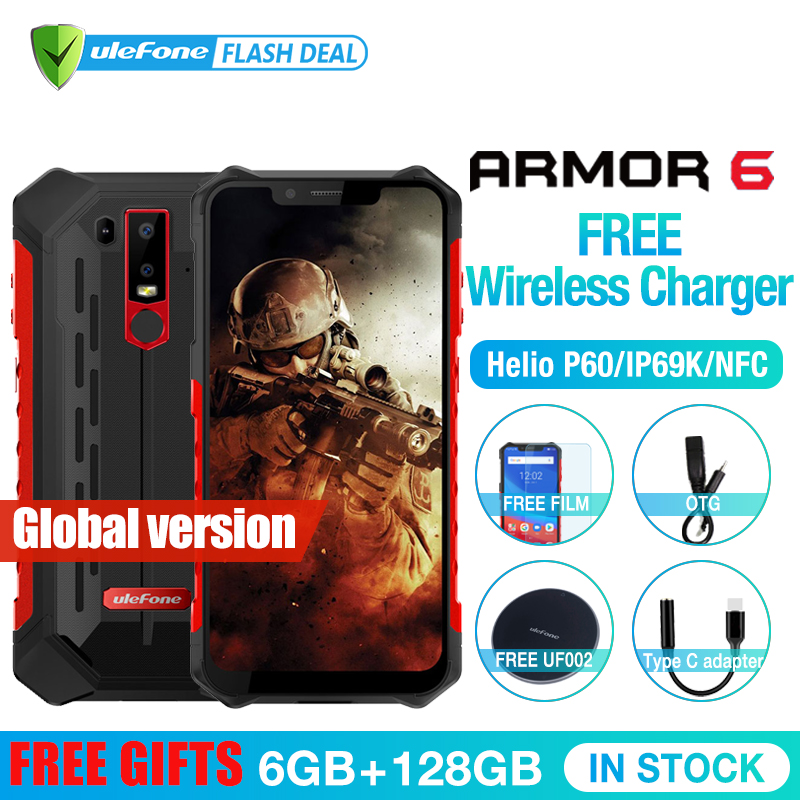 Ulefone Armure 6 Étanche IP68 NFC téléphone portable Helio P60 L'atco-core Android 8.1 6 GB + 128 GB Sans Fil charge Visage IDGlobal version
