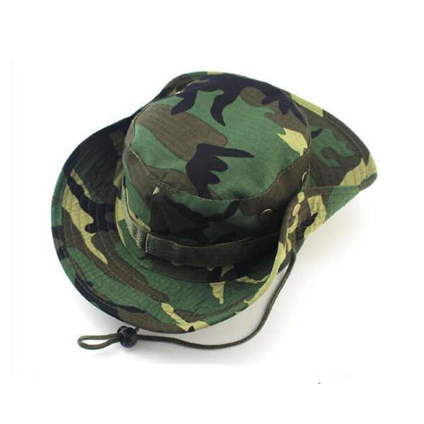 1 PC ทหารปานามา Safari Sun หมวกหมวกฤดูร้อนผู้ชายผู้หญิง Camouflage หมวก String หมวกชาวประมง