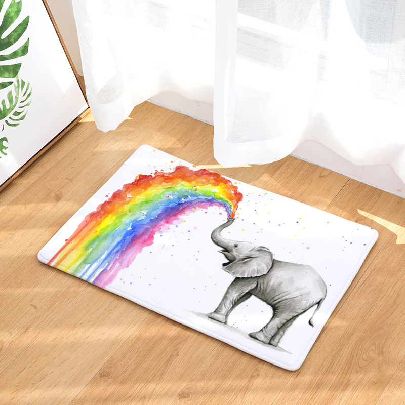 CAMMITEVER Rainbow Elephant Rug Carpets For Bedroom Living Room Rugs Carpets