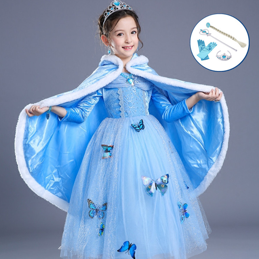 3-10T Girls Blue Elsa Princess Dress with Cloak Crown Wand Glove Braid Halloween Christmas Cosplay Clothes Baby Girl Party Dress