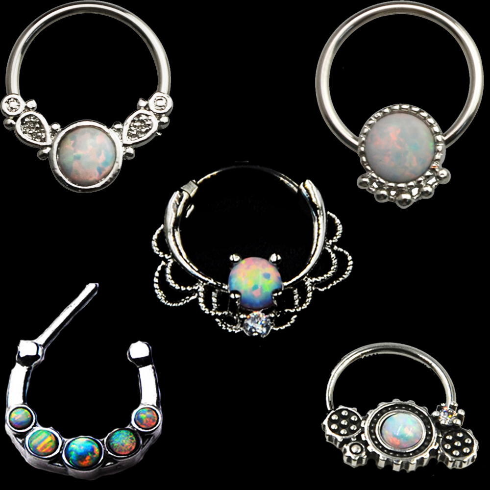 Bog 316l Surgical Steel Opal Septum Nose Ring Septum Clicker With