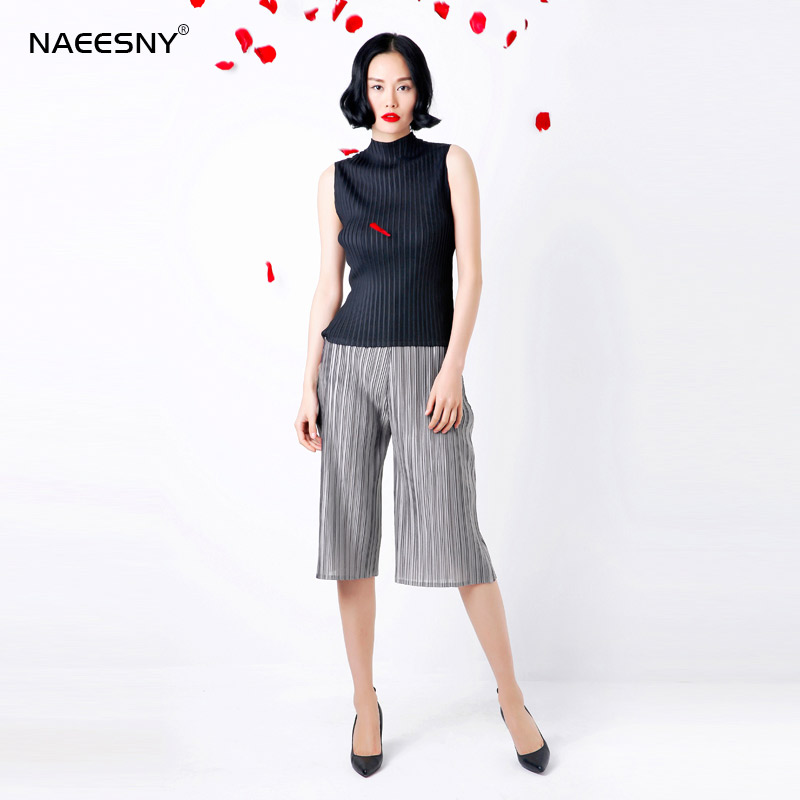 chiffon pleated wide leg   pants     capris   elastic waist pleated trousers fold   pants   free shipping