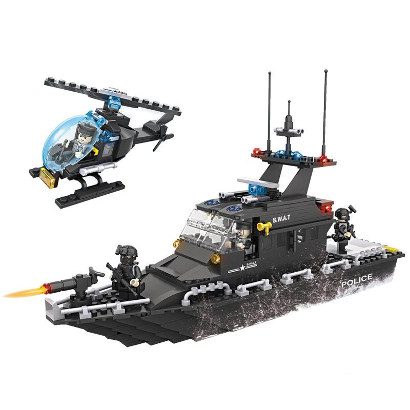 HSANHE 6511 Police station SWAT escort Boat Military Series soldiers 3D Model building blocks city Boy Toy hobbies Gift police pl 12921jsb 02m