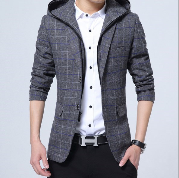 Japan Design Mens Hooded Blazer Suit Jacket Men Plaid Blazer Coat Two Button Casual Slim Fit Terno Masculino Red Blue Gray