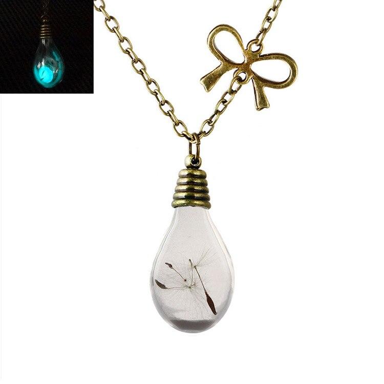 Charming Jewelry Bow Dandelion Bottles Glow Pendant Necklace 2017 Dandelion Seeds Glass Necklace