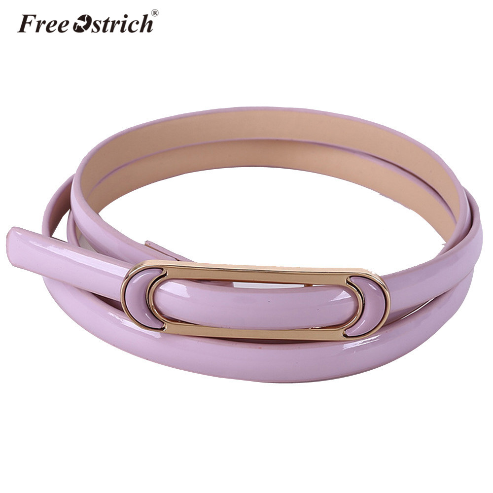 Free Ostrich PU Leather Women Solid Narrow Waistband Accessories 2018 Skinny Waist Belt For Dress Hot Sale Dropshipping A1220