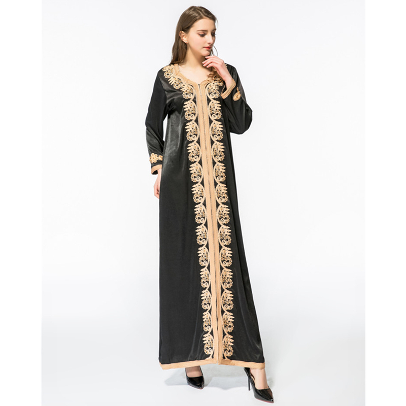 Women Maxi Long sleeve long vintage Dress Plus size embroidery moroccan  Kaftan islamic clothing