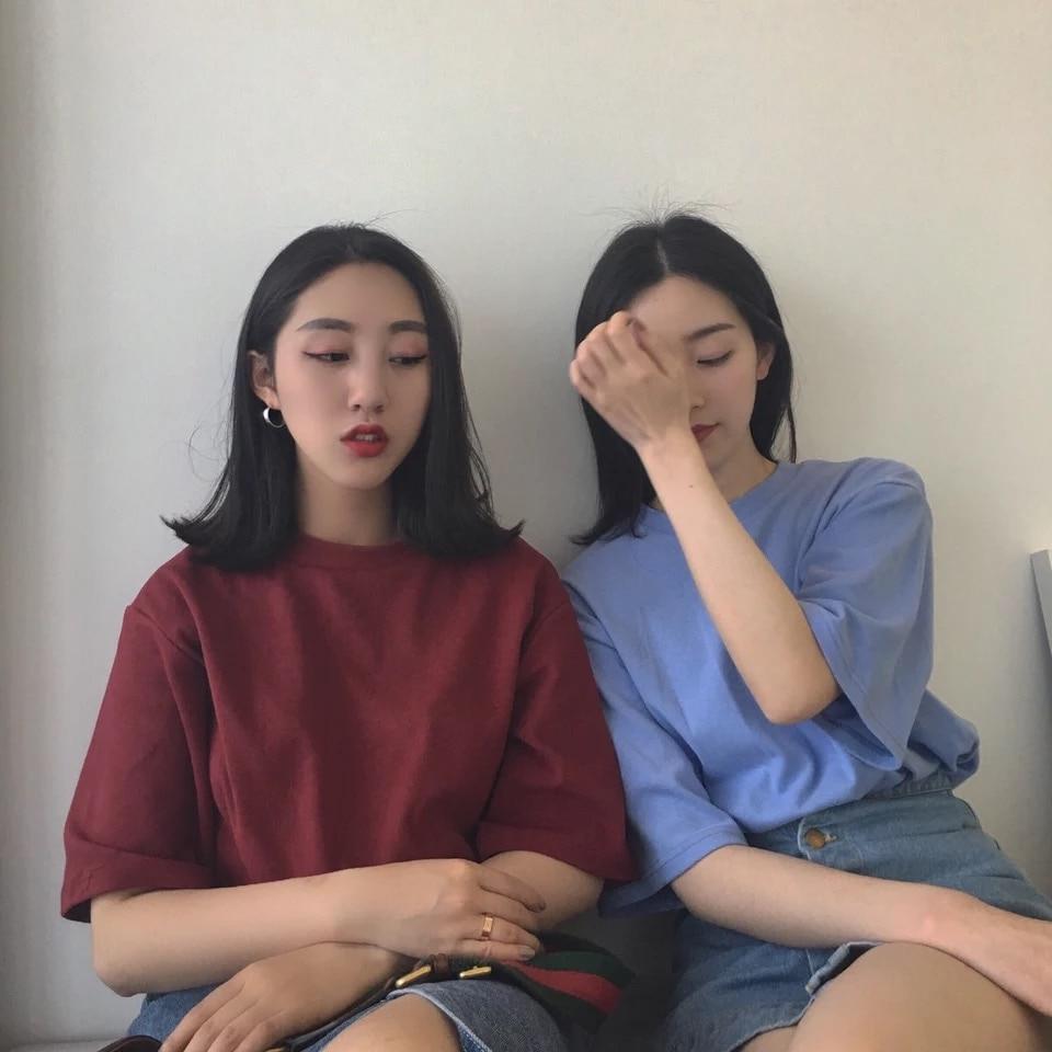 Ulzzang Korean Style Girls Short Sleeve Solid T Shirts