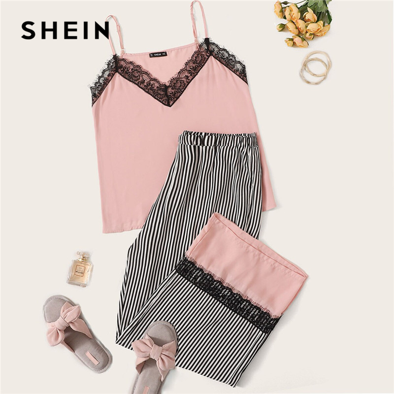 SHEIN Plus Size Pink Contrast Lace Sleeveless Striped   Pajama     Set   2019 Women Spring Summer Casual Spaghetti Strap Sleepwear PJ