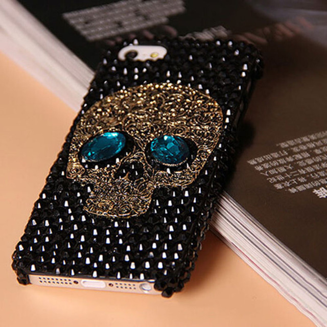 Handmade Diamond  Skull back Cover phone case