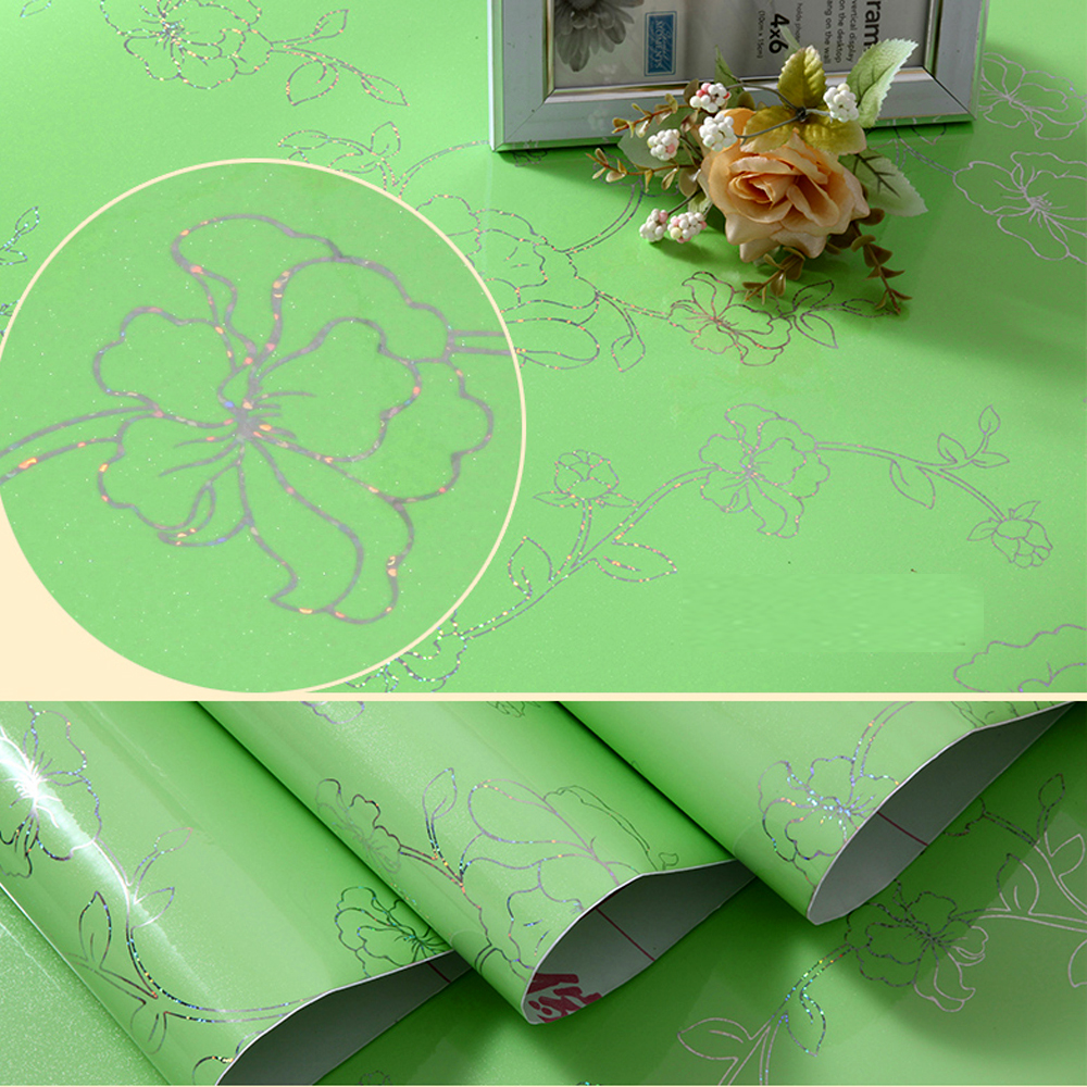 yazi Green Peony Wall Sticker Kitchen Units Cupboard Drawer Cover Shelf Liner Waterproof Refurbished Wallpaper