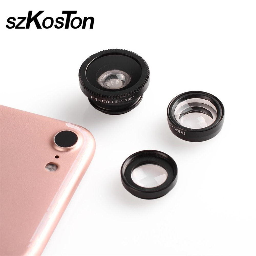 Fisheye Lens 3 in 1 mobile phone lenses fish eye +wide angle +macro camera lens for iphone xiaomi huawei htc iPhone 4 4s 5 6 7 8
