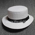 New Summer White Straw Hats For Women Sun Beach Hats Bow Flat Top Sombrero Free Shipping SDDS-024