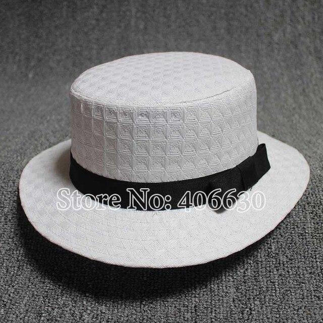 Nuevo blanco de verano sombreros de paja para mujeres Sun Beach sombreros arco Flat Top Sombrero envío gratis SDDS-024