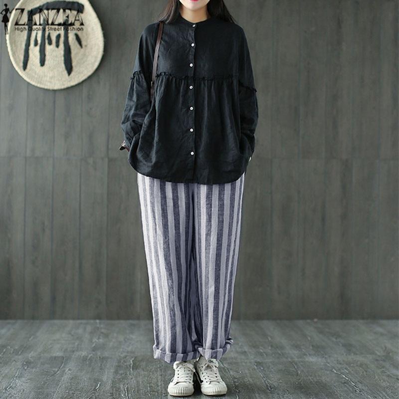 2018 Summer ZANZEA Women Casual Pockets Loose   Wide     Leg     Pants   Vintage Striped Harem   Pants   Pantalon Cotton Linen OL Long Trousers
