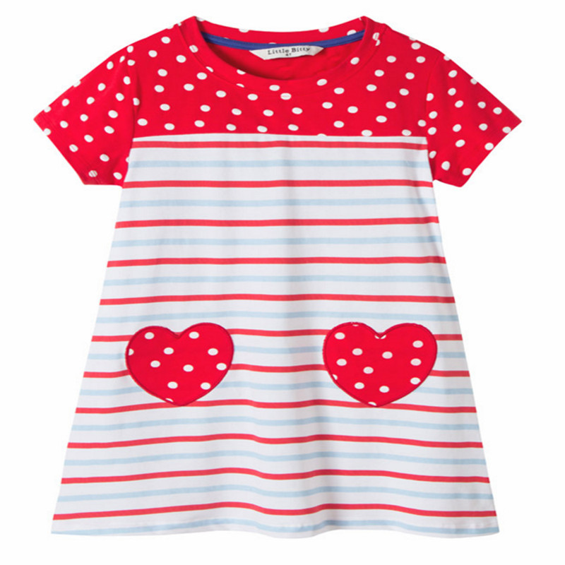 Summer Children clothing baby girls dresses embroidery fashion striped polka dot kids clothes fashion cotton hot kids girl dress