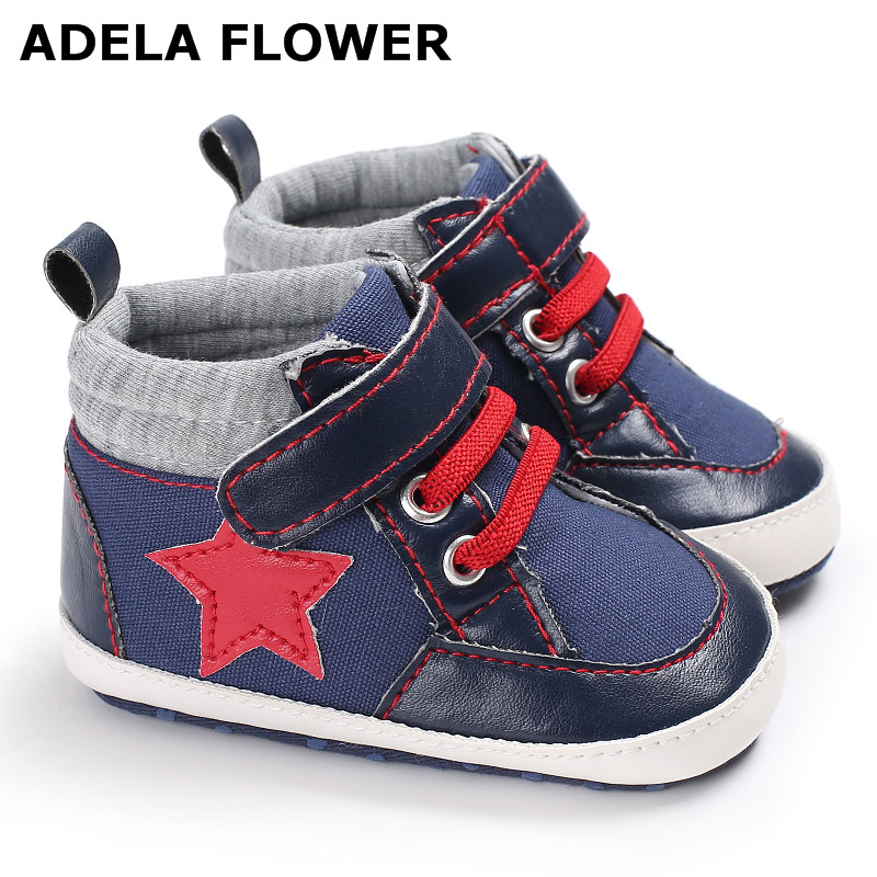 Adela Flower New Baby Shoes Branded First Walkers Star Print Canvas Baby Girl Shoes Soft Sole Shoes Newborn Baby Boys Footwear