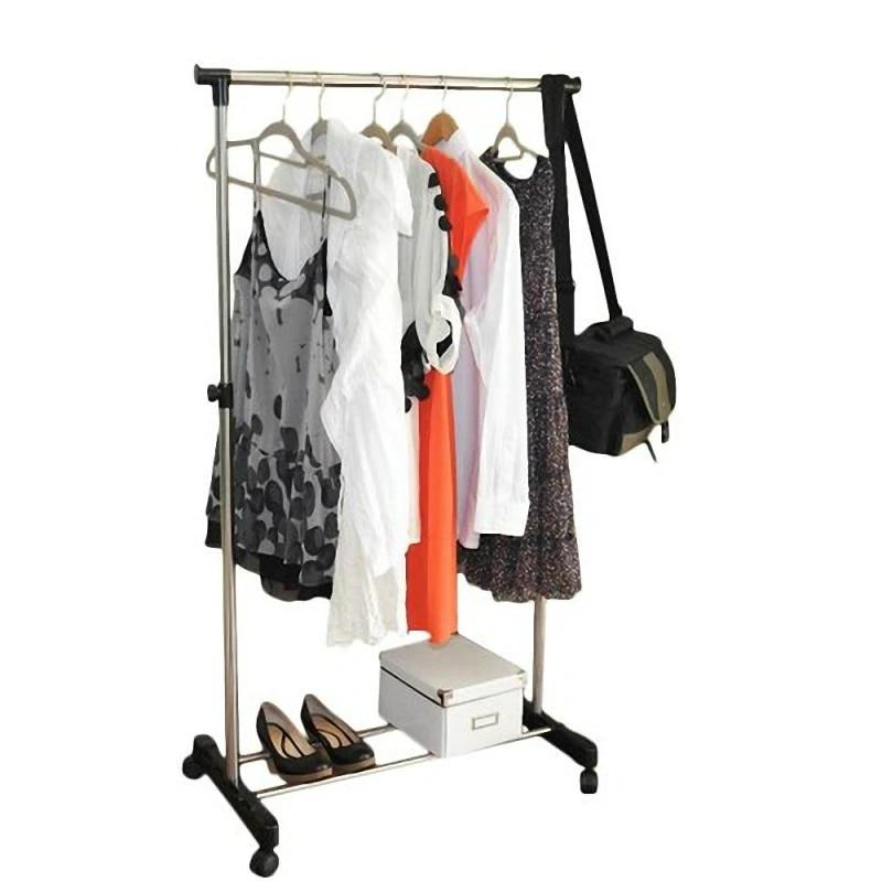 single bar rail hanging clothes rack stand adjustable telescopic rolling clothing rack garment rack hanger wheeled us stock