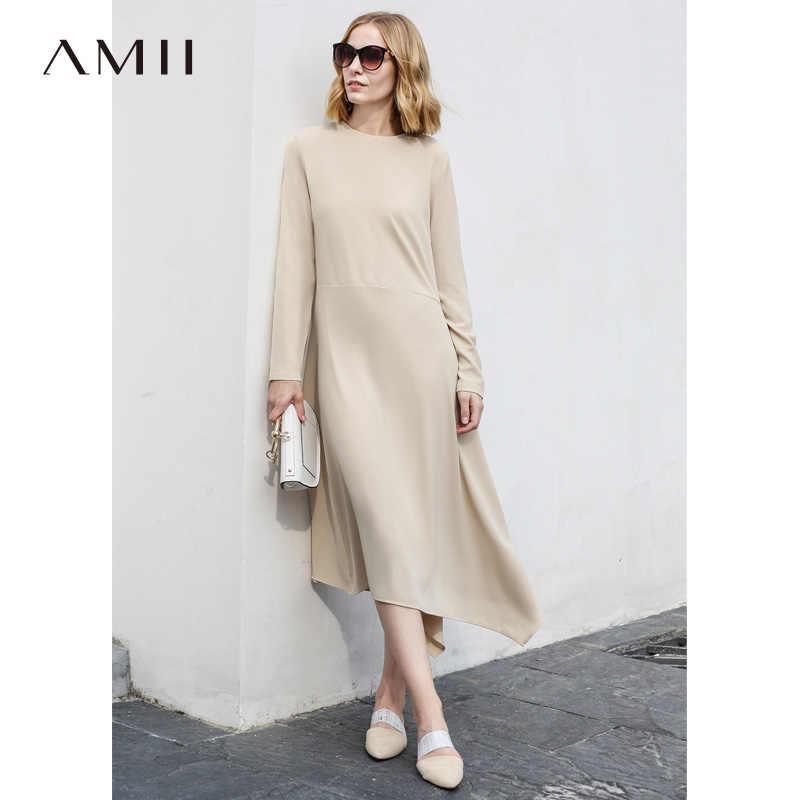 183789292e2 Amii для женщин Минималистский осень 2018 г. платье оригинальный дизайн  Асимметричная Элегантный шик с длинным
