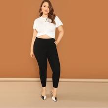 Black Plus Size Elastic Waist Women's Casual Leggings