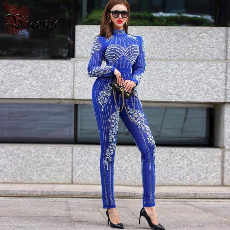 Celebrity Style Beads: Free Shipping! Fashion Luxe Beads Jumpsuit Long Sleeves