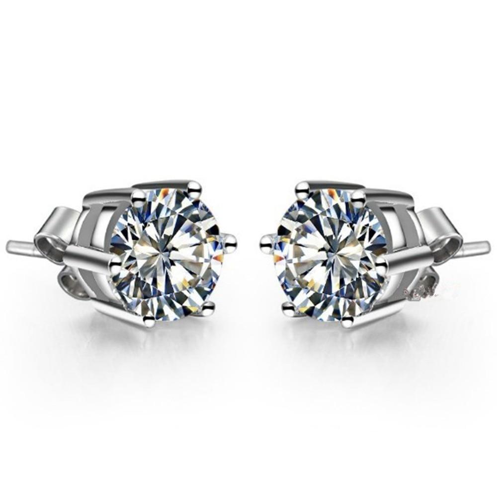 Engagement Stud-Earrings Diamond Wedding-Jewelry Gold White Solid-18k Luxury SONA Round