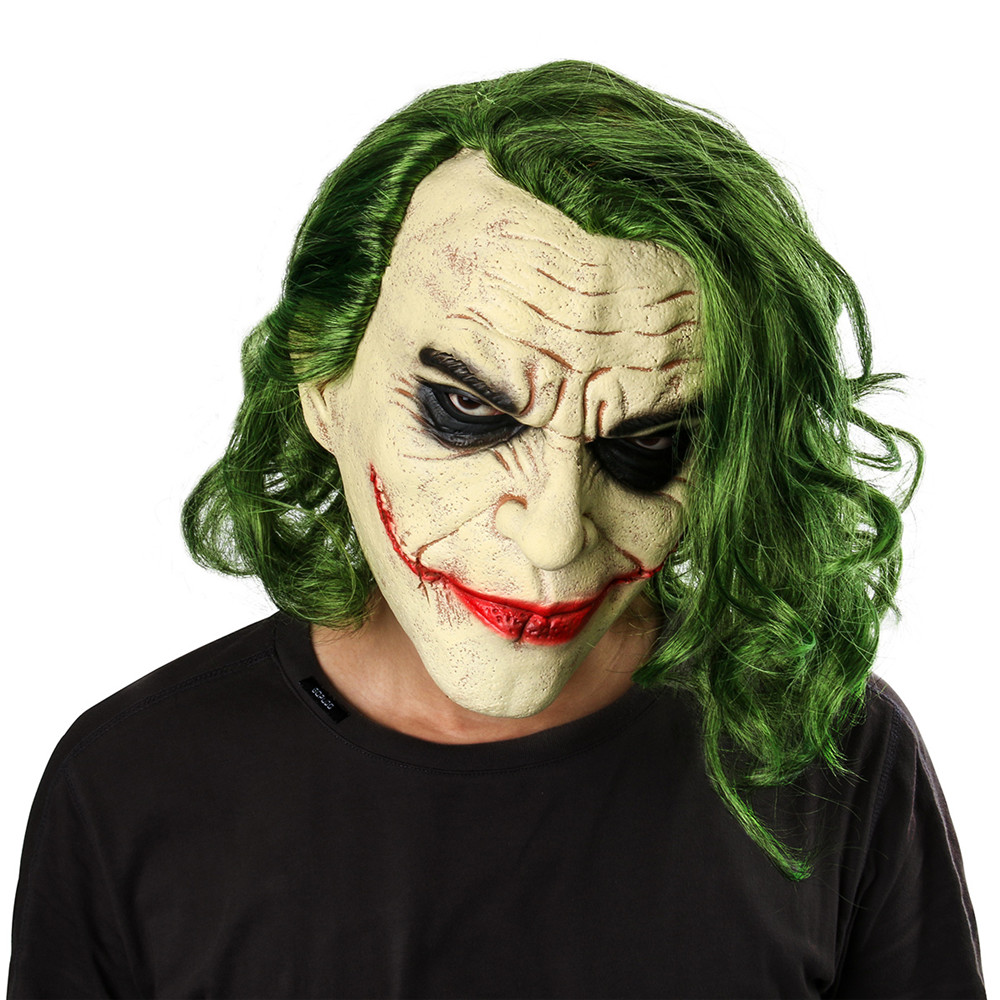 Joker Mask Movie Batman The Dark Knight Cosplay Horror Scary Clown Mask with Green Hair Wig Halloween Latex Mask Party Costume|Boys Costume Accessories| |  - title=