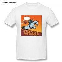 100 Cotton CRISIS Letter Print Cartoon Man Rides Horse T Shirt Short Sleeve O Neck Clothing