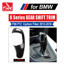 F06 Carbon Fiber Gear Shift Knob Cover Panel Collars Shifter For 6 Series F12 F13 shifter trim A Style BMW 640i 650i 2012-16
