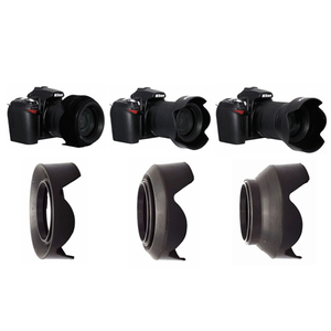 Image 1 - 52 67 77 mm Petal 3 Stage 3 in1 Collapsible Rubber Silicon Foldable Lens Hood for Canon Nikon Sony Yongnuo 52mm 77mm 67mm