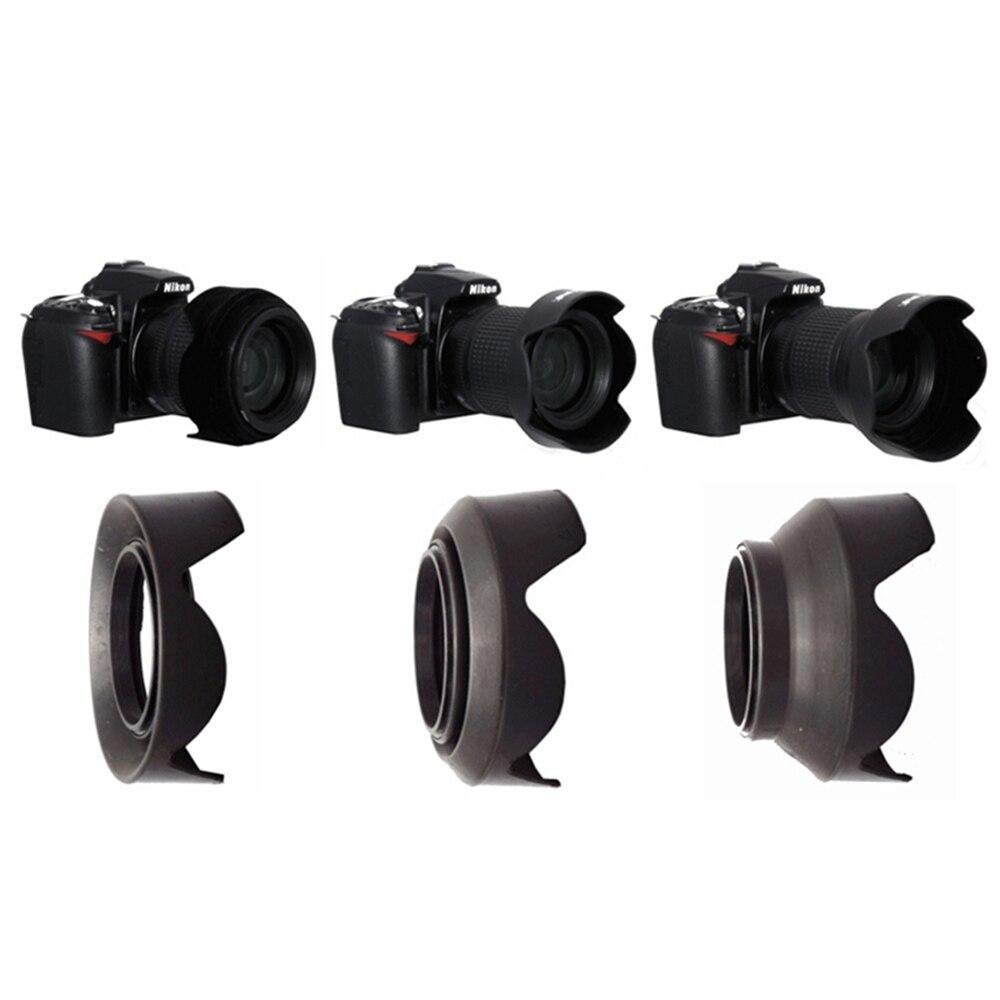 52 58 67 77 mm pétalo 3-Etapa 3 in1 plegable de goma del lente plegable capucha para Yongnuo Canon, Nikon, Pentax, 52mm 58mm 67mm