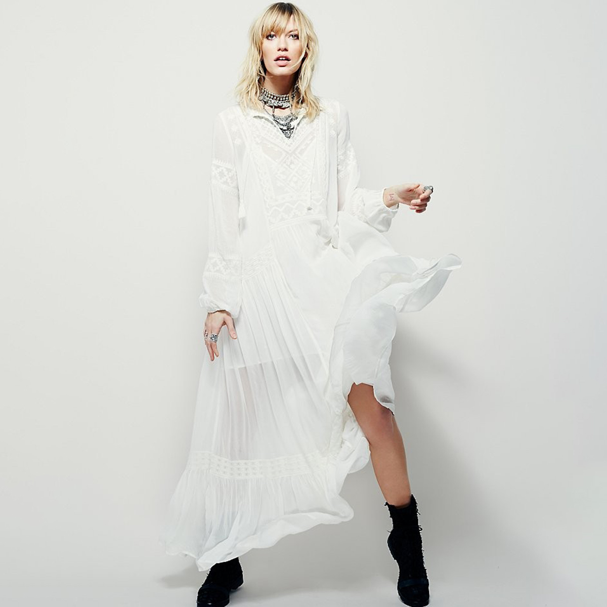 Longues Casual Dames Broderie Ethnique 2018 Hippie Manches Rouge Col Robe Sexy V Maxi Robes Longue Élégante Blanc blanc Boho Plage Femmes pq8wcYwOg