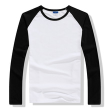 2018 Autumn Winter Long Sleeve T Shirt Men Contrast Color Round Collar Cotton Mens Casual Slim Fit Raglan T-Shirts Tees Tops
