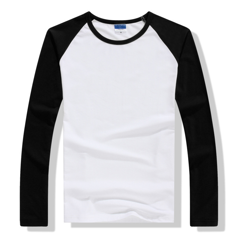2019 Autumn Winter Long Sleeve T Shirt Men Contrast Color Round Collar Cotton Mens Casual Slim Fit Raglan T-Shirts Tees Tops