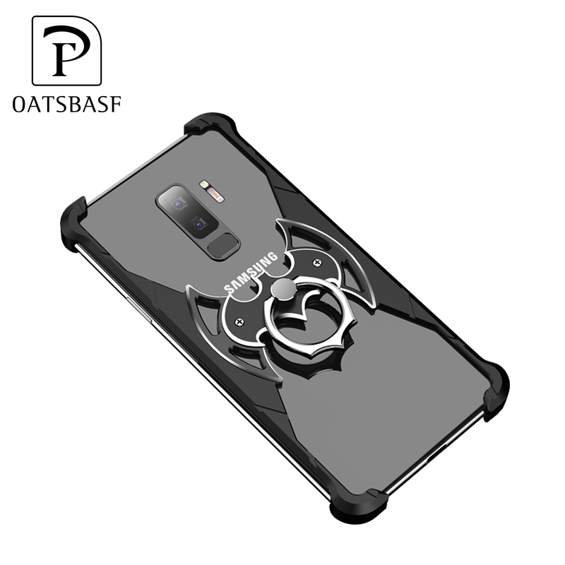 OATSBASF Bat Design Bumper with Airbag Metal Case for Samsung Galaxy note 9 S9 S9+ Plus shell with Ring Holder back cover case