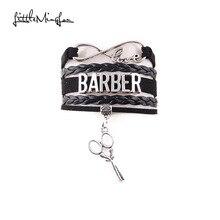 Little MingLou Infinity love Profession Barber Bracelet scissors Charm leather w