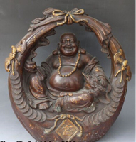 dr227 16 Chinese Bronze Gilt Wealth Happy Laugh Maitreya Buddha Golden Toad Statue