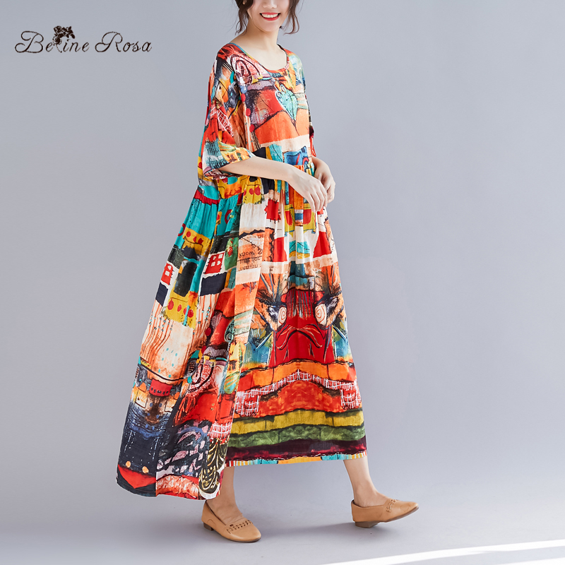 BelineRosa Summer Holiday Style Dress in Big Sizes Printing Super Loose High Waist Plus Size Dress XXL 3XL 4XL 5XL TYW00976 in Dresses from Women 39 s Clothing