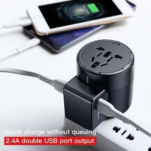 Image 2 - Baseus Adaptador de viaje internacional, enchufe de cargador de pared Universal, conversor adaptador de corriente de CA USB Dual para UE, EE. UU., Reino Unido, AU
