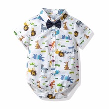 2019 New Summer Brand Baby Boy Clothes Cartoon Newborn Gentleman Collar Tie Pure Tops Shirt Short Sleeves