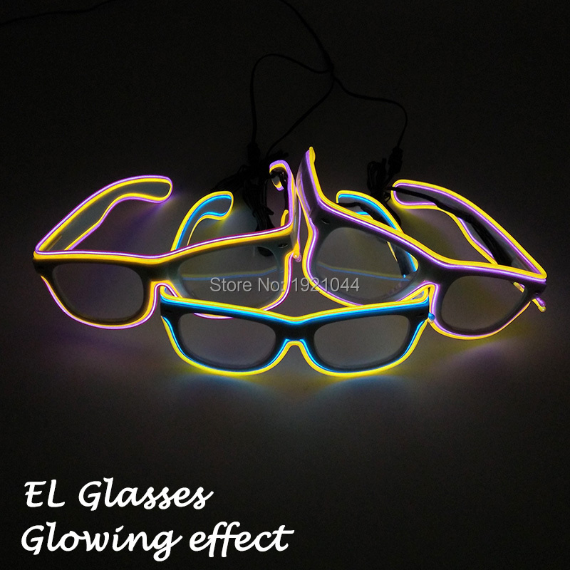Glow Party Decoration Fashion Rave Party Glasses EL Wire Glowing Glasses Double Color White Frame Glasses