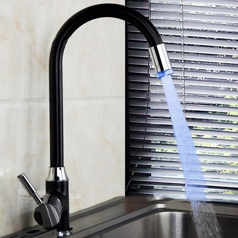 Сюэцинь светодиодный 3 цвета меняется бассейна Ванная комната раковина кран Палуба Гора черный живопись Одной ручкой Кухня черный + серебро