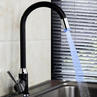 Xueqin LED 3 Color Changing Basin Bathroom Sink Faucet Deck Mount Black Painting Single Handle Kitchen