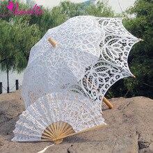 Свадебные вечерние Зонты ручной работы в винтажном стиле, кружевной зонтик и вентилятор