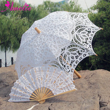 Parasol y ventilador de encaje de novia para decoración de fiesta Vintage hecho a mano, conjunto de abanicos para boda